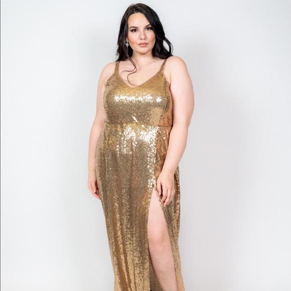 Plus Size 'Alchemy' Double Slit Sequin Maxi Dress Boutique